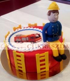 Sam a tűzoltó ostyás torta. Rendelhető legkisebb méret 15 szeletes
