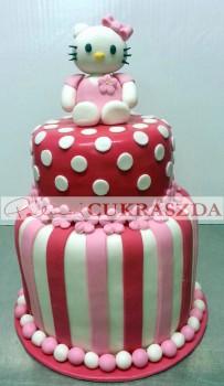 2 emleetes, 30 szeletes Hello Kitty torta. Rendelhető egy szintesben is