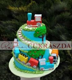 Gyerek születésnapi torta kisvonatokkal