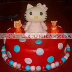 Pöttyös torta Hello Kitty figurával. Rendelhető legkisebb méret 15 szeletes
