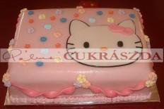 Rózsaszin Hello Kitty torta. Rendelhető legkisebb méret 20 szeletes