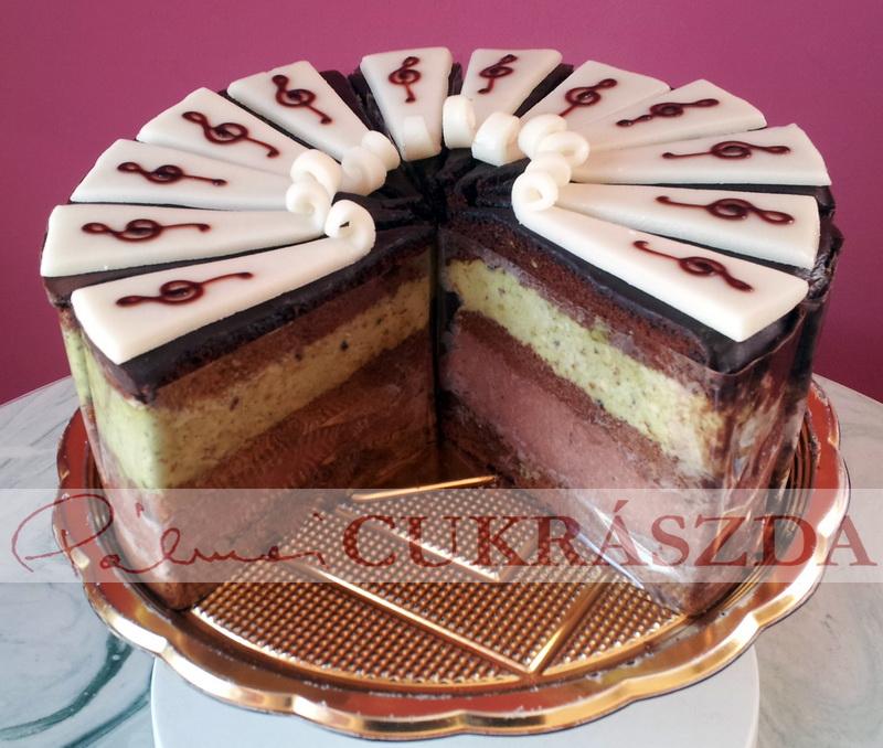 Két különböző krémréteg van a tortában. Alul egy csokoládés mogyorókrém, felül pedig egy pisztáciamarcipán krém. Tetejét egy marcipánlap fedi