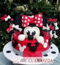 16 szeletes piros-fekete Minnie torta